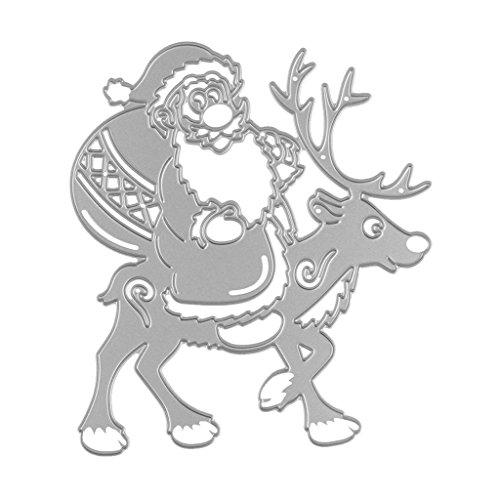 Homyl Cutting Dies Scrapbooking Stanzschablone Schneiden Basteln Prägeschablone - Weihnachtsmann Rentier -