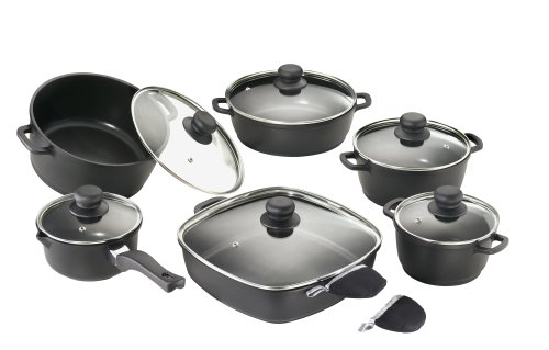 Karcher 112914 cast aluminium cookware set (12-piece, Teflon® Classic non-stick coating, incl. 1 pair of thermal grips), black