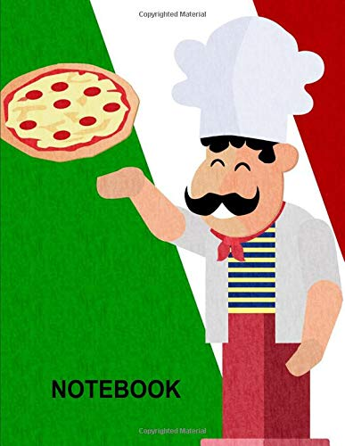 Notebook. For Pizza Lovers. Blank Lined College Ruled Notebook Planner Journal Diary. - Boys Hawaiian Shirt