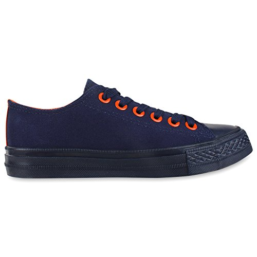Trendige Unisex Sneakers | Low-Cut Modell | Basic Freizeit Schuhe | Viele Farben | Gr. 36-45 Dunkelblau Orange