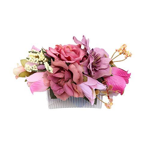 Ever Fairy Handarbeit Mode Blume Haarkamm für Frauen Mädchen Brautjungfer Kleid Kamm Satin Kamm Zubehör (C)