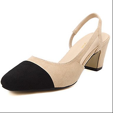 LvYuan Da donna-Sandali-Formale-Altro-Quadrato-Felpato-Nero Tessuto almond Black