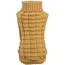 Malloom® Ropa para perros mascotas invierno de lana suéter de los géneros de punto Warm cáñamo Flores Altos abrigos de cuello (L, caqui)