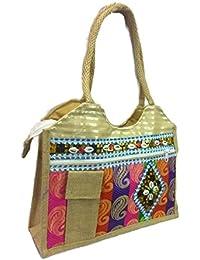 Medium Size Stylish Eco-friendly Jute Small Handbag Tote Bag With Zippered Closure Jute Laminated