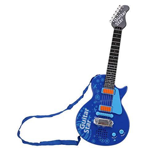 MRKE E Gitarre Kinder 6 Saiten Spielzeuggitarre Kindergitarre Musikspielzeug mit Gitarrengurt für Jungen Mädchen 3-8 Jahre (Blau)