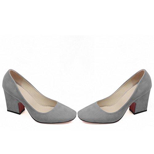 YE Damen Spitze High Heels Pumps mit Bequem Blockabsatz 8cm Absatz Office Kleid Schuhe Grau