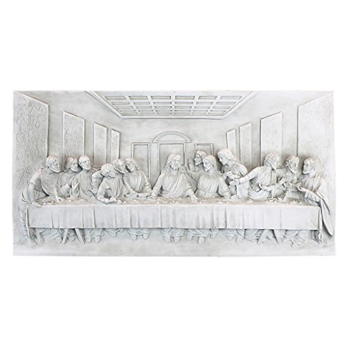 Design Toscano Das letzte Abendmahl Wandskulptur, Polyresin, Antikes Steingrau, 58 cm