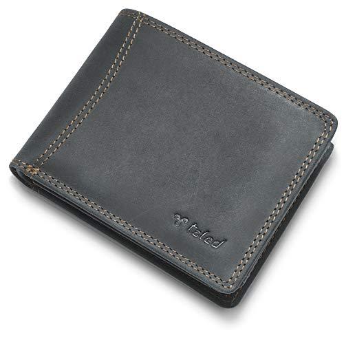 TALED Geldbeutel Hunter aus hochwertigem Büffelleder mit RFID-Schutz - Herrengeldbörse inkl. E-Book für Lederpflege - Portemonnaie Wallet - Made IN Germany