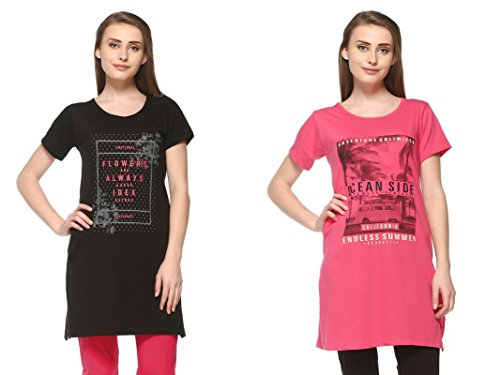 In Love Women\'s Cotton Long Top (Deep Black & Blossom Pink) (4XL) (2C77013)