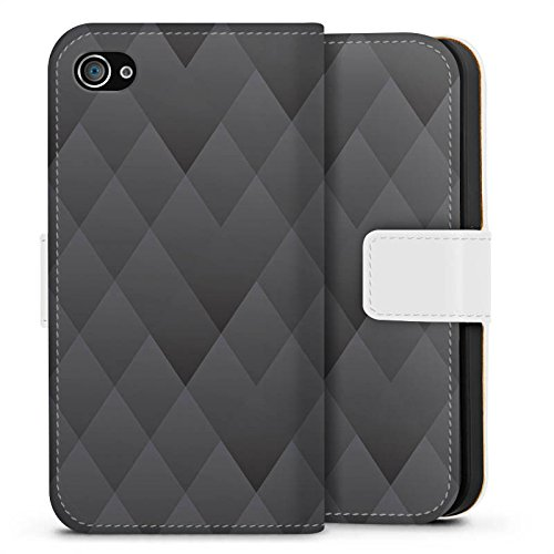 Apple iPhone X Silikon Hülle Case Schutzhülle Anthrazit Modern Muster Sideflip Tasche weiß
