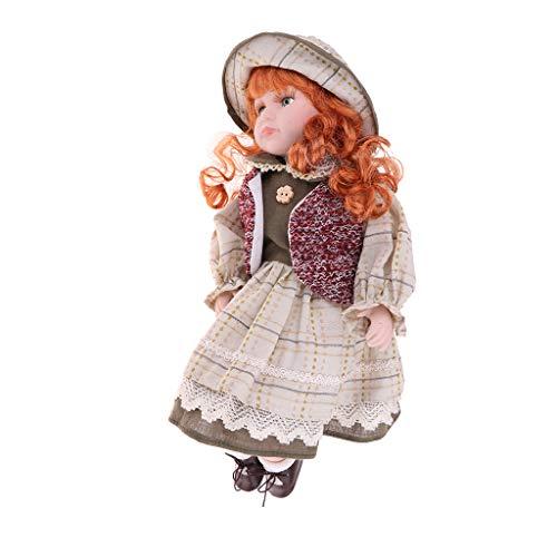 KESOTO 40 cm Vintage Elegante Muñeca de Porcelana Muñeca Muchacha en Vestido de Niños de Juguete de Colección - D