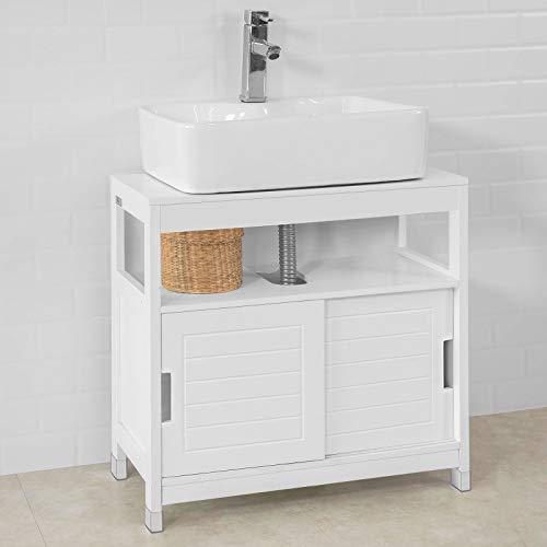 SoBuy® FRG128-W Waschbeckenunterschrank Badmöbel Badschrank mit Fußpolster Waschtisch
