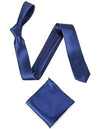 "Men's or Boy's Satin 2"" Slim Tie and Pocket Handkerchief Set - Various Colours"