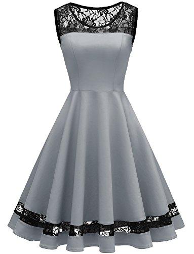 GardenWed Damen 1950er Vintage Abendkleider Knielang Spitzen Rockabilly festlich Partykleid...