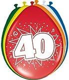 40 Geburtstag Deko Luftballon Ballons mit Zahl 40 Farbmix Dekoration zum 40er Geburtstag Party oder andere Anlässe 8 Stück Packung