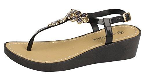 Saute Styles , Chaussure ouverte à larrière femme - Black Toe Post