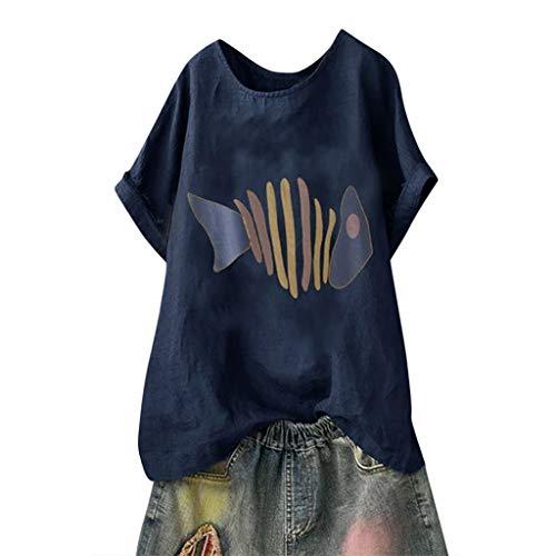 Andouy Damen Mode Lustige Muster Tees Beiläufige Feste Gedruckte Lose Flügelhülsen Gr.40-54 Übergroße T-Shirt Tops(3XL(50).Marine-Fisch) - Butterfly Plus Größe T-shirt