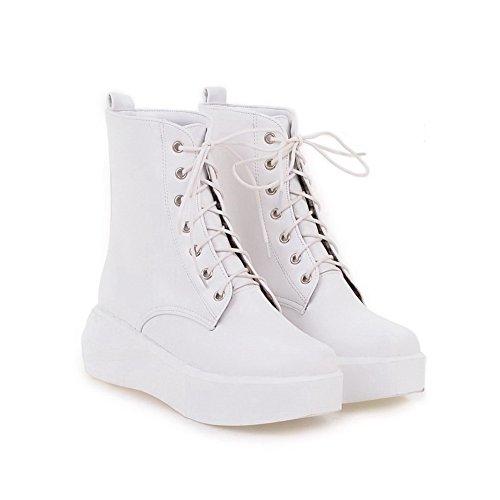 AgooLar Damen Mittler Absatz Rein Rund Zehe Schnüren Stiefel mit Knoten Weiß