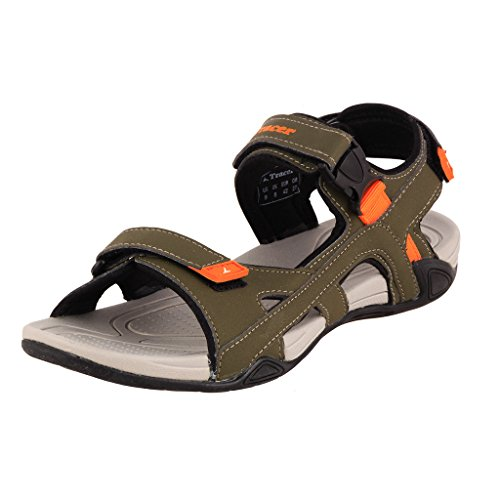 Tracer Men's SD037 Series Khaki / Orange Synthetic Floater Sandals - 10 UK  available at amazon for Rs.879