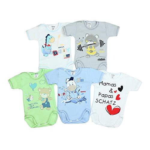 TupTam Unisex Baby Kurzarm-Body mit Aufdruck Spruch 5er Set, Farbe: Junge 2, Größe: 56