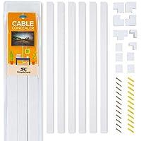 Kit de canaletas largas de pared para ocultar cables - Sistema de gestión de cables para ocultar cables, cuerdas o alambres - Organiza cables para TVs y computadoras en su hogar u oficina