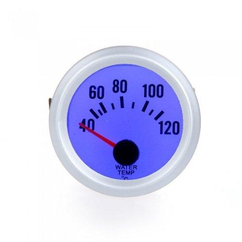 KKmoon Wasser-Temperaturanzeige mit Messsensor für Autos, 52mm, 40~ 120°C, LED-Beleuchtung, Blau / silberfarben