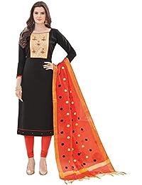 Women'S Black Semi Stitched Embroidered Banglori Cotton Dress Material