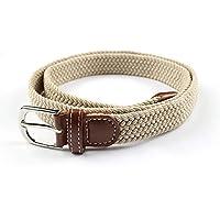 TINERS Lienzo Tejido Cinturón Hombres Y Mujeres Informal Salvaje Tejido Elástico Tejido Elástico Pin Hebilla Cinturón,Apricot