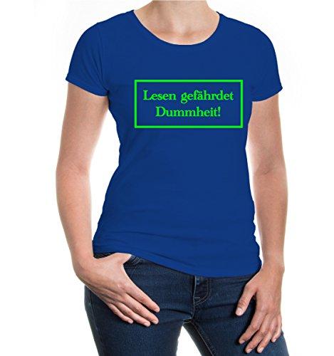 buXsbaum® Girlie T-Shirt Lesen gefährdet Dummheit Royal-Neongreen