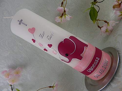 Taufkerze handmade Elefant rosa brombeere Taufkerzen Mädchen 250/70 mm mit Name und Datum