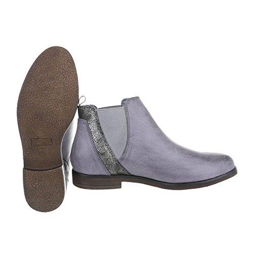 Ital-Design Chelsea Boots Damenschuhe Chelsea Boots Blockabsatz Blockabsatz Stiefeletten Blau Grau