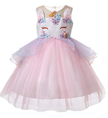 YOGLY Mädchen Prinzessin Kostüm Eiskönigin Kleid für Mädchen Karneval Verkleidung Party Cosplay Faschingskostüm Festkleid Weinachten Halloween Fest Kleid Tutu