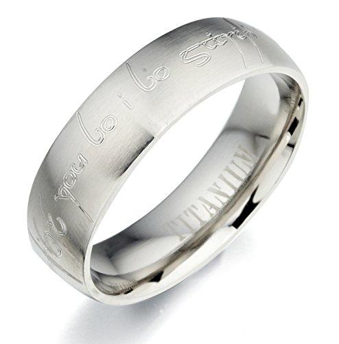 Gemini Lord of the rings-Anello da uomo con incisione personalizzata, in titanio opaco &-Anello di (Titanio 7 Mm Matt)