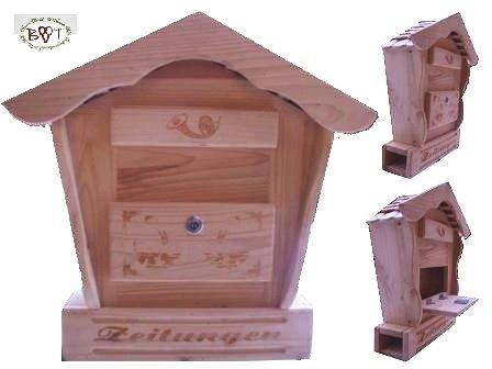 Holz-Briefkasten, Briefkasten HBK-SD-NATUR groß hell natur unbehandelt für Gartenhaus Holzhaus und Eingang Gartendeko mit Holzdach Dekoration Briefkästen Postkasten Spitzdach - 2