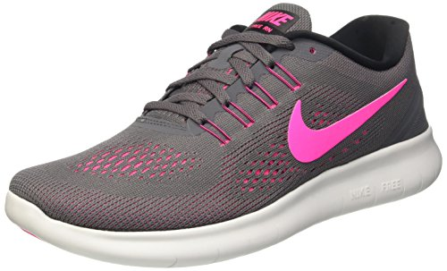 Nike Free Rn, Scarpe Running Donna, Grigio (Dark Grey/Pink Blast/Black/Cool Grey), 38.5