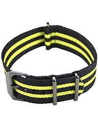 slow–avec fermeture Noir Bande de nylon jaune noir–22mm de largeur