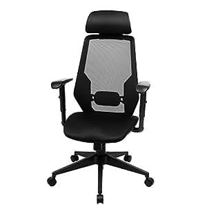 songmics fauteuil de bureau chaise avec accoudoirs r glables appui t te m canisme basculant noir. Black Bedroom Furniture Sets. Home Design Ideas
