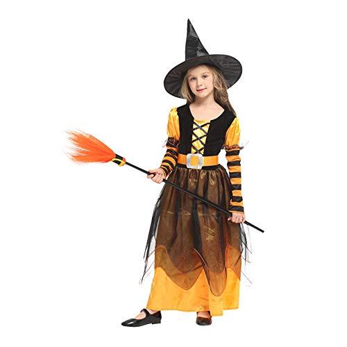QINGQING Kinder Baby Mädchen Hexe Dress up Halloween Kinder Durchführung Kleidung Kostüm Kleid Party Kleider + Hexe Hut (5-12) Kinder Mädchen Halloween Kleidung Kostüm
