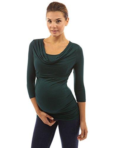 PattyBoutik Mama Maternité Tunique 2-en-1 à manches 3/4 vert foncé