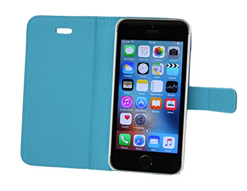 Emartbuy® Apple iPhone SE PU Cuir Flip Case Étui Coque Cover Floral Blanc Rose Carbon Bleu Wallet Case