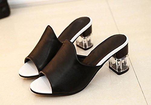 Frau Fischkopf Sandalen und Pantoffeln mit der rauen mit dem Wort Drag Sandalen Sommerschuhe Runde Black