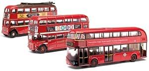 Corgi (1/76 Ème) - COM49904 - Véhicule Miniature et Circuit - 3 Pièce London Transport Bus Set Then and Now - Trolley Bus Routemaster and N