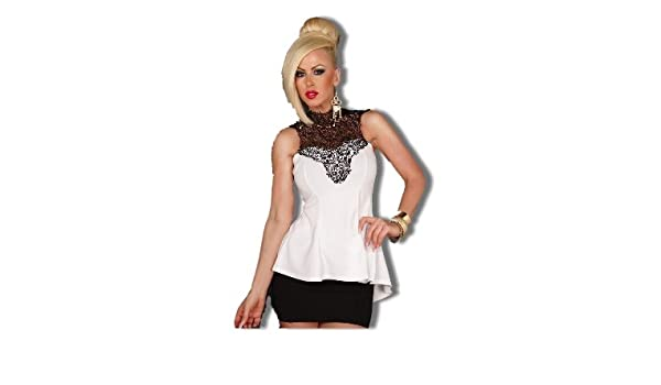 Sexy peplum top with lace applique tie neckline white amazon