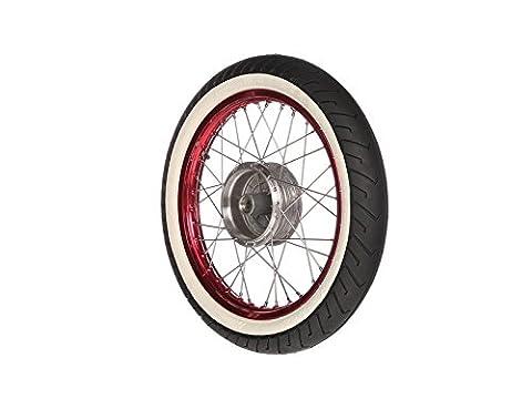"""Complet–Roue avant–Rouge 1,5x 16""""– Jante en aluminium anodisé et poli, Acier inoxydable rayons–Mitas Blanc mural de pneus MC2monté"""