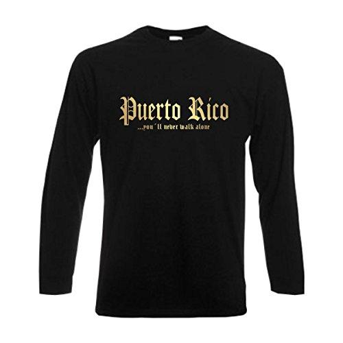 Longsleeve PUERTO RICO never walk alone Herren langarm T-Shirt Länder Fanshirt schwarz auch große Größen Übergrößen S-6XL (WMS01-50b) Mehrfarbig