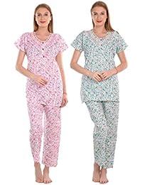CIERGE Women's Cotton Printed Maxi Night Suit
