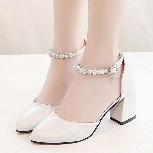 RUGAI-UE Estate sandali donne High-Heeled fibbia scarpe scarpe alla moda White