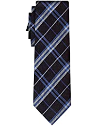 cravate soie tartan pattern blue white on black