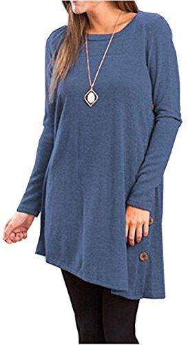 Aswinfon Tunique Femme Longue Manche Longue Grande Taille Casual Coton Blouse Top Tee Shirt Haut Longue Bleu