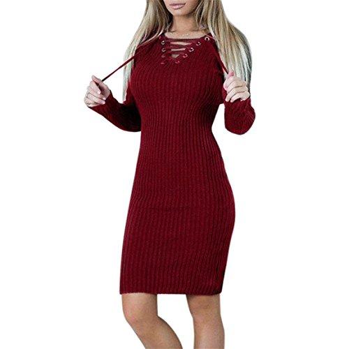 Robe pull femme,Bellelove Chandail à manches longues fille, robe moulante longue, bandage fendue robe Slim, robe de soirée en coton occasionnels pour les femmes (UE 36 / Asie M, Rouge)